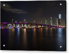 Miami Night Skyline Acrylic Print by Andres Leon