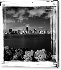 Acrylic Print featuring the photograph Miami Skyline At Night by Carsten Reisinger