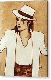 Michael Jackson Original Coffee Painting Acrylic Print by Georgeta  Blanaru