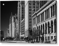 Michigan Avenue Chicago B W Acrylic Print by Steve Gadomski