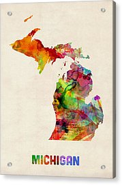 Michigan Watercolor Map Acrylic Print by Michael Tompsett
