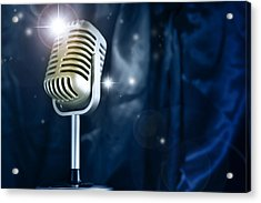 Microphone Acrylic Print by Les Cunliffe