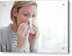Mid Adult Woman Blowing Her Nose Acrylic Print by Science Photo Library