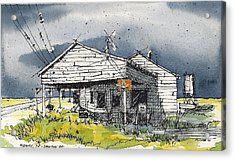 Acrylic Print featuring the mixed media Midway Texas Fillin' Station by Tim Oliver