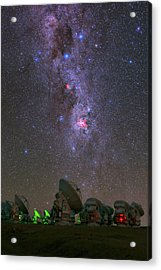 Milky Way Over Alma Telescopes Acrylic Print by Babak Tafreshi
