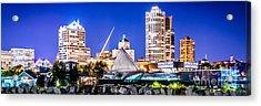 Milwaukee Skyline At Night Photo In Blue Acrylic Print