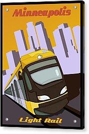 Minneapolis Light Rail Travel Poster Acrylic Print by Jude Labuszewski
