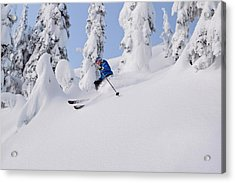 Mistie Fortin Skis Powder At Whitefish Acrylic Print by Chuck Haney