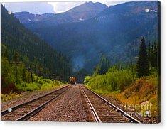 Misty Mountain Train Acrylic Print