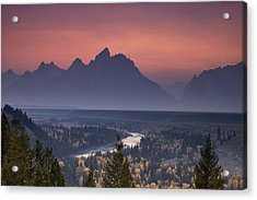 Misty Teton Sunset Acrylic Print by Andrew Soundarajan