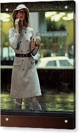 Model Wearing A David Crystal Coat Acrylic Print