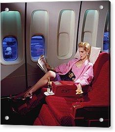 Model Wearing Pink Jacket On Airplane Acrylic Print