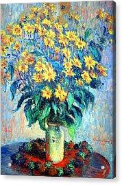 Acrylic Print featuring the photograph Monet's Jerusalem  Artichoke Flowers by Cora Wandel