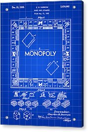 Monopoly Patent 1935 - Blue Acrylic Print by Stephen Younts