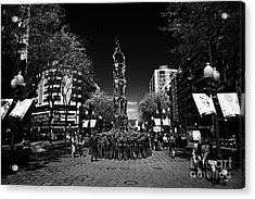 Monument To The Castellers On Rambla Nova Avenue In Central Tarragona Catalonia Spain Acrylic Print by Joe Fox