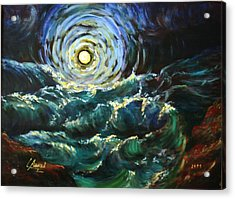 Moon And Waves Acrylic Print by Laila Awad Jamaleldin