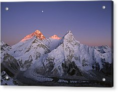 Acrylic Print featuring the photograph Moon Over Mount Everest Summit by Grant  Dixon