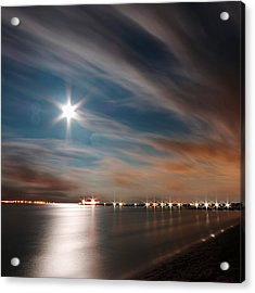 Moon Rise Over Anna Maria Island Historic City Pier Acrylic Print