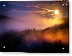 Moon Setting In Mist Acrylic Print