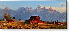 Mormon Row And The Grand Tetons  Acrylic Print by Ken Smith