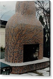 Mosaic Fireplace Acrylic Print by Charles Lucas