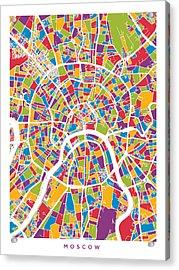 Moscow City Street Map Acrylic Print by Michael Tompsett