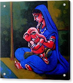 Mother And Child. Acrylic Print by Abhijit Banerjee
