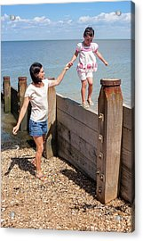 Mother And Daughter On Beach Acrylic Print
