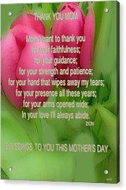 Mothers Day Poem Card Acrylic Print by Debra     Vatalaro