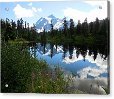 Mount Shuksan Reflection Acrylic Print by Karen Molenaar Terrell