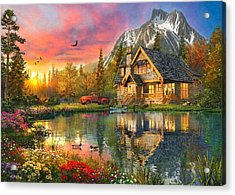 Mountain Cabin Acrylic Print by Dominic Davison