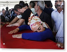 Mourners Attend The Funerals Of Those Killed In The Turkish Bomb Blast Acrylic Print by Gokhan Sahin