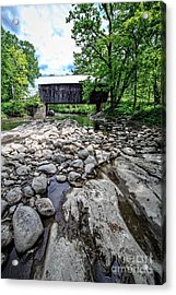 Moxley Covered Bridge Chelsea Vermont Acrylic Print by Edward Fielding