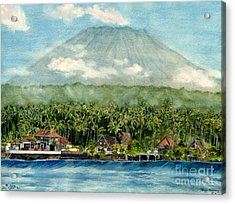 Acrylic Print featuring the painting Mt. Agung Bali Indonesia by Melly Terpening