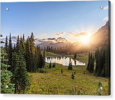Mt.rainier In Sunset Acrylic Print by Chinaface