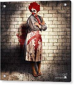 Murderous Monster Clown Standing In Full Length Acrylic Print by Jorgo Photography - Wall Art Gallery