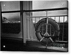 Mv Midnatsol Lifebelt On Board Hurtigruten Passenger Ship Sailing Through Fjords During Winter Acrylic Print by Joe Fox