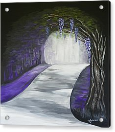 Acrylic Print featuring the painting Mysterious Wisteria by Agata Lindquist