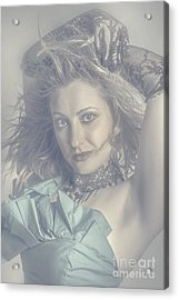 Mysterious Young Model Dancing In Vintage Fashion  Acrylic Print