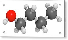 N-butanol Molecule Acrylic Print by Molekuul