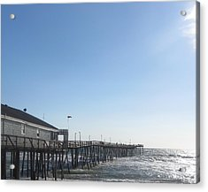 Nags Head Pier Acrylic Print by Cathy Lindsey