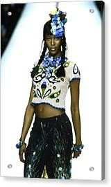 Naomi Campbell On A Runway For Anna Sui Acrylic Print