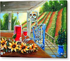 Napa Wine Skeleton Acrylic Print by Heather Calderon