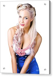 Navy Pinup Woman Acrylic Print by Jorgo Photography - Wall Art Gallery