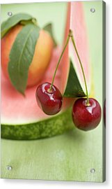 Nectarine With Leaves, Watermelon And Cherries Acrylic Print