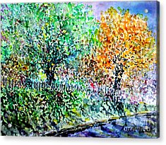 Acrylic Print featuring the painting Neighbours Garden by Alfred Motzer