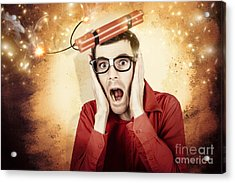 Nerd Business Man Shouting Out In Fear Of A Bomb Acrylic Print by Jorgo Photography - Wall Art Gallery