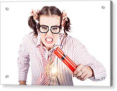 Nerd Business Woman Holding Exploding Time Bomb Acrylic Print by Jorgo Photography - Wall Art Gallery