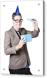 Nerd Man With Happy Birthday Present Acrylic Print by Jorgo Photography - Wall Art Gallery