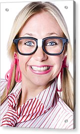 Nerdy Businesswoman With A Cheeky Grin Acrylic Print